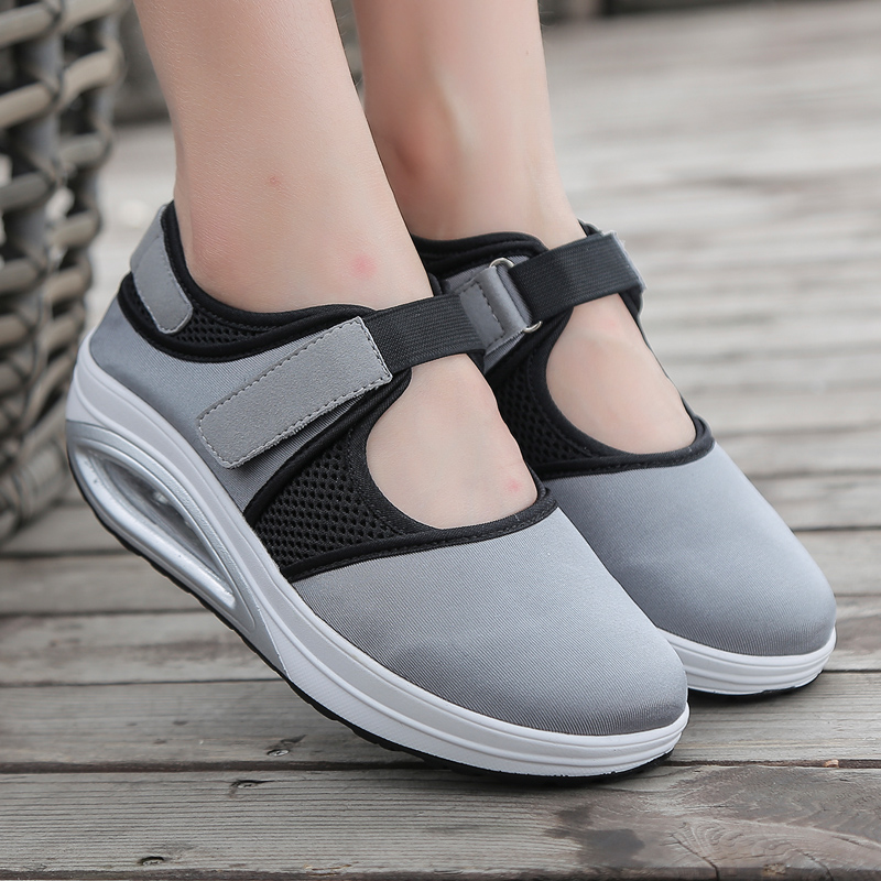 Women Flat Toning Shoes Black Gray Ladies Walking Slimming Sneakers Thick Bottom Outdoor Women Increase Fitness Shoes Trainer