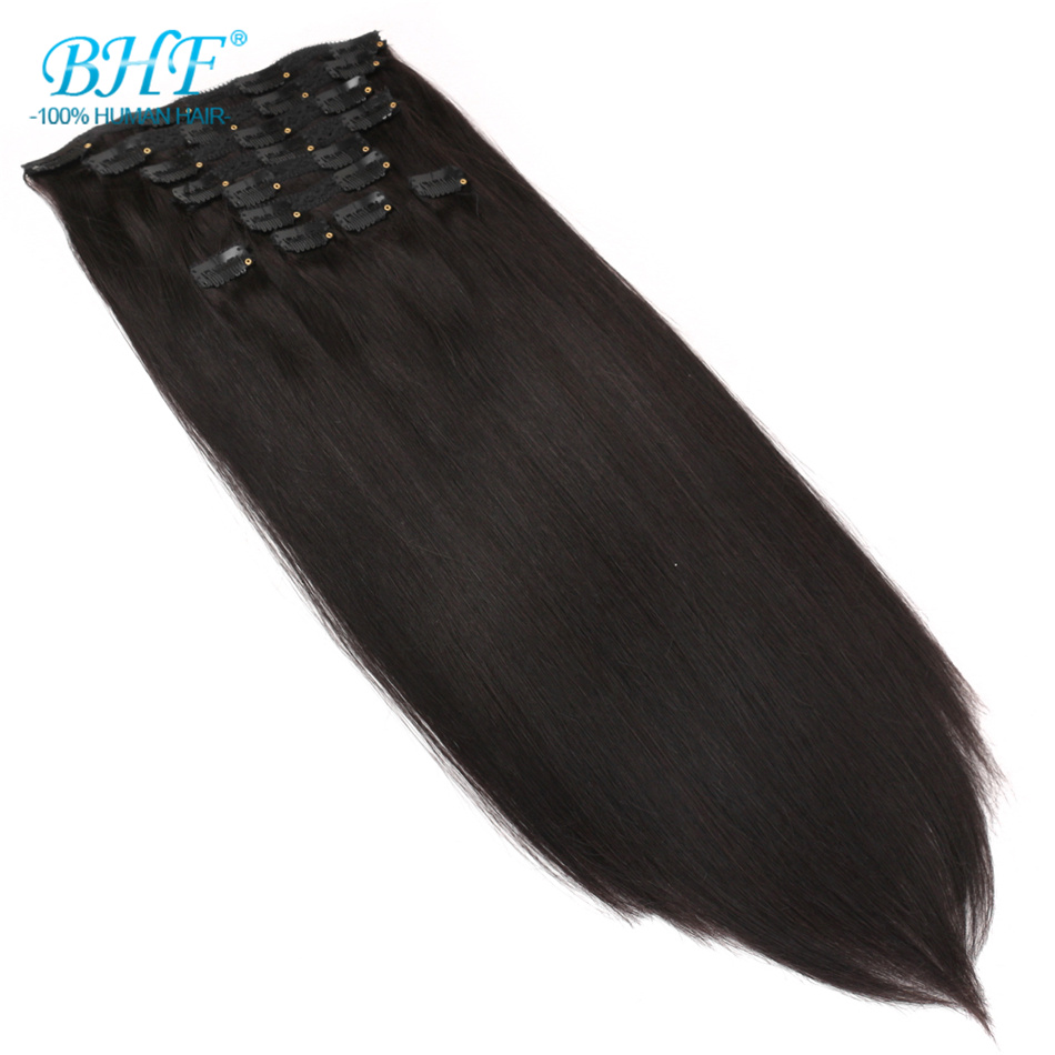 BHF Clip In Human Hair Extensions 10pieces 200g/set And 7pcs/set 100g Remy Brazilian Straight Clip Ins Full Head