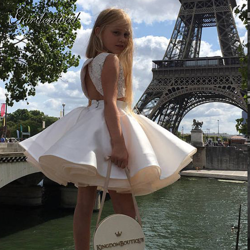 Two Pieces Cute Puffy Girl Princess Dresses Lace Satin Layers Tulle Kids Party Dress Lace Appliques Ball Gown Celebrity Dresses