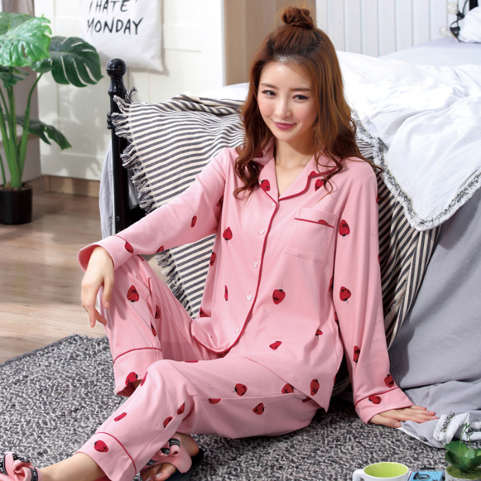 New Style Cardigan Pajamas Women Long Sleeve Spring Summer Women's Sweet Outer Wear Tracksuit Oil Painting Strawberry Plus-sized