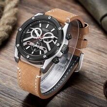 MEGIR חדש אופנה Mens שעונים למעלה מותג יוקרה גדול חיוג צבאי קוורץ שעון עור עמיד למים ספורט הכרונוגרף שעונים גברים