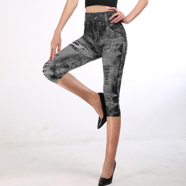 2021 Fitness Leggings 3/4 Lady Faux Jean Pants Women High Waist  Super Elastic Slim Jeggings Plus Size 3XL Short Leggings 5
