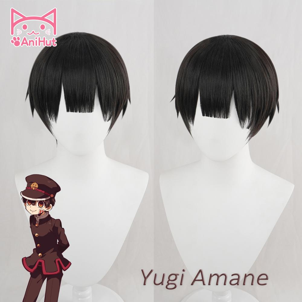 【AniHut】Yugi Amane Wig Toilet-bound Hanako-kun Cosplay Heat Resistant Synthetic Black Yugi Amane Hair