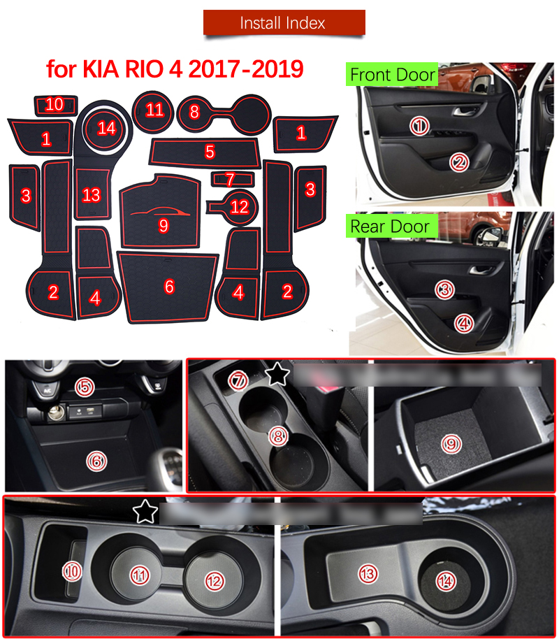 Door Groove Mat For Kia Rio 4 X-Line RIO 2017 2018 2019 Accessories Anti-Slip Mat Gate Slot Coaster Car Interiors Gel Pad Rubber