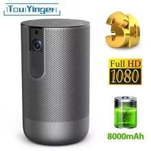 TouYinger K3 DLP mini projektor Android 7,1 2G + 16G Aktive 3D 8000mAh Batterie USB WIFI Unterstützung 1080P 4K video hause beamer outdoor