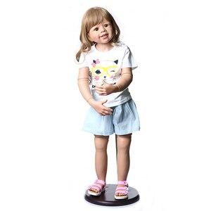 100 см жесткий винил reborn Малыш принцесса девочка кукла игрушка реалистичный реальный 3 лет размер детская одежда Фото Модель Кукла Детский по...