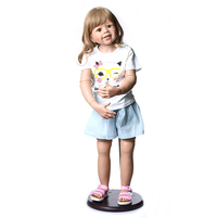 100CM Hard vinyl reborn toddler princess girl doll toy lifelike real 3 year old size child clothing photo model doll baby gift