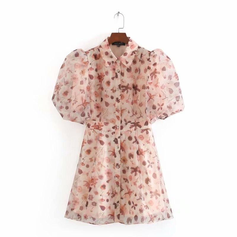 2020 Spring Summer New Waist Hugging Print Lantern Sleeve Zaraing Women Dress Sheining Vadiming Female Dress Vintage Cdc9656
