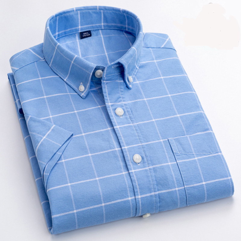 Summer Men's Shirt Short Sleeved 100% Cotton Oxford Fashion Causal Plaid Shirts Comfortable Soft Brand Male Shirt Clothes DS389