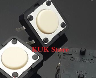 Original 100% NEW B3F-4000 12X12X4.3 MM 12*12*4.3 MM 1.27N Tact Switch Round White Button 500PCS/LOT