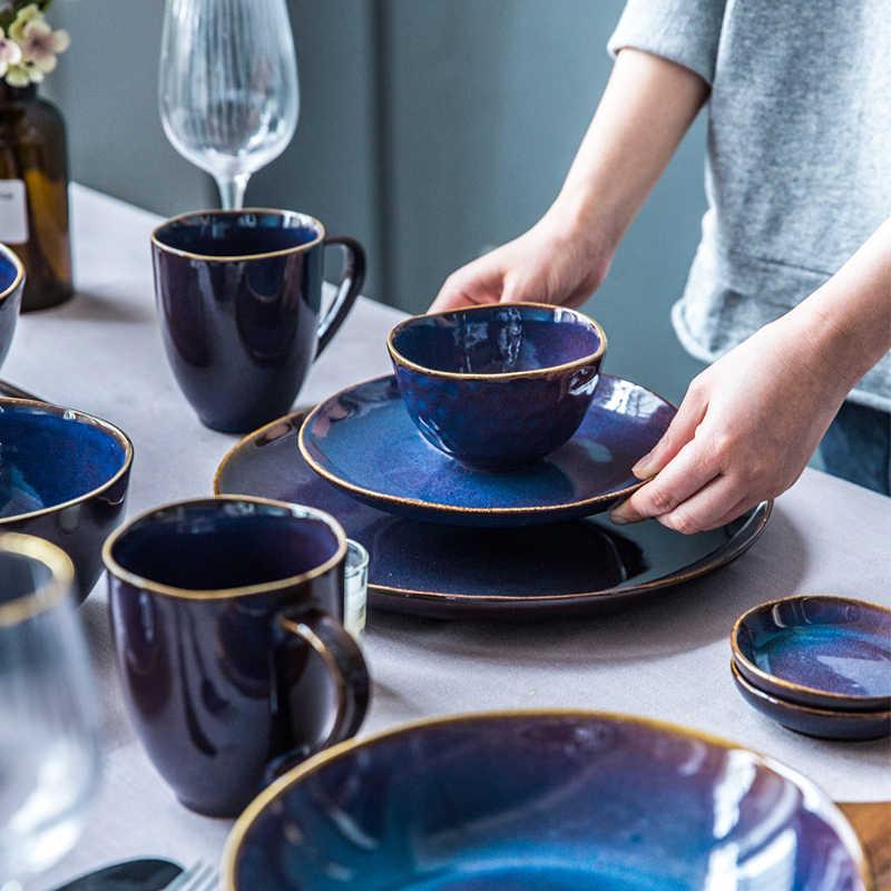 Kinglang Nordic Cena Set Commercio All'ingrosso Klin Satinato di Colore Blu Set Da Tavola di Fabbrica Direttamente di Vendita di Ceramica Prodotti