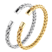 Silver Color Stainless Steel Cuff Bangles Bracelets for Woman Man Gold Color Charming Wedding Party Trendy Brand Jewellery Gift fashion classic cross bracelet bangles for men black gold color stainless steel male band bracelets jewellery gift
