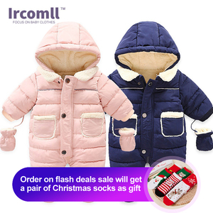 Image 1 - Ircomll Winter Infant Baby Girl Boy Romper Autumn Jumpsuit Hooded Inside Fleece Toddle Winter Autumn Overalls Children Outerwear