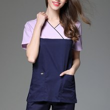 Scrub-Clothes Dental-Clinic Pet-Hospital Working-Uniforms Short-Sleeve Women's Small