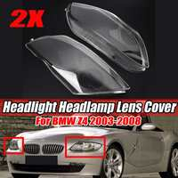 2Pcs Car Clear Front Headlight Headlamp Lens Cover Trim Shell Replacement For BMW Z4 2003 2008 63127165678 Headlight Lens Cover