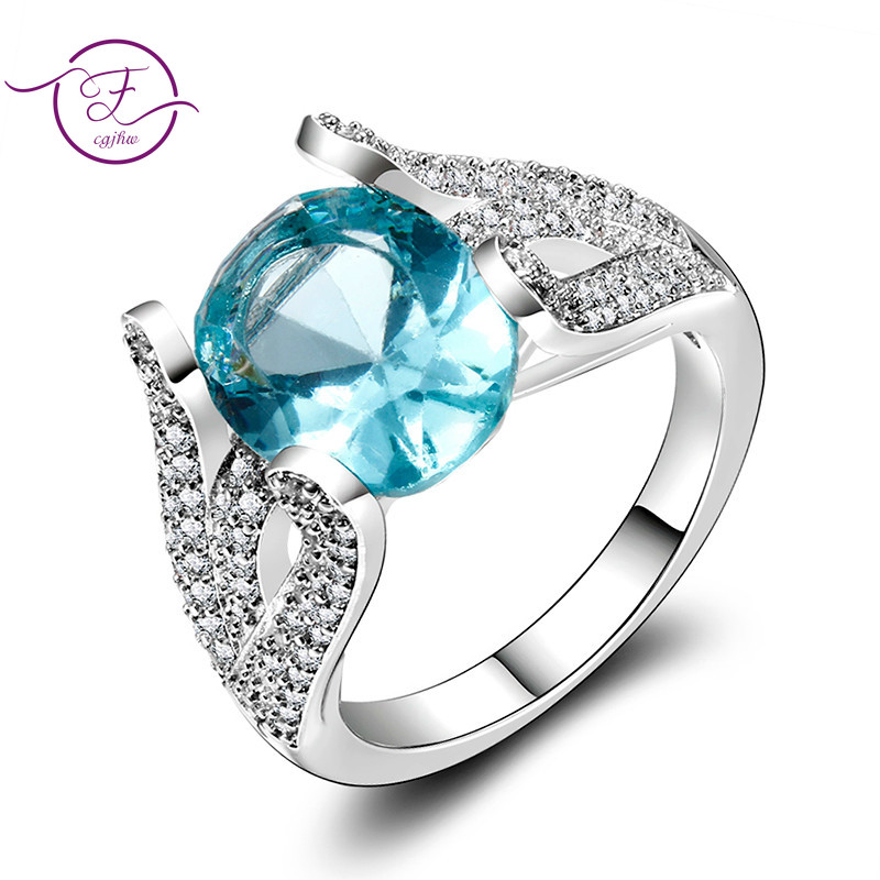 S925 Sterling Silver Rings Blue Topaz Ring Gemstone Aquamarine Cute Romantic Ring for Women Engagement Wedding Gifts