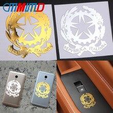 Itália nacional emblema de alumínio janela do carro adesivos repvbblica italiana pentagrama emblema estilo do carro portátil telefone decalques