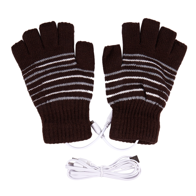 New 5V USB Powered Heating Heated Winter Hand Warmer Gloves Washable Coffe