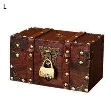 Retro caixa de tesouro com fechadura vintage caixa de armazenamento de madeira estilo antigo jóias