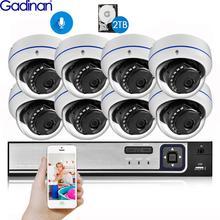 Gadinan 8CH 4MP CCTV 보안 NVR 키트 시스템 4MP 3MP POE 오디오 레코드 돔 야외 POE IP 카메라 P2P 비디오 감시 세트