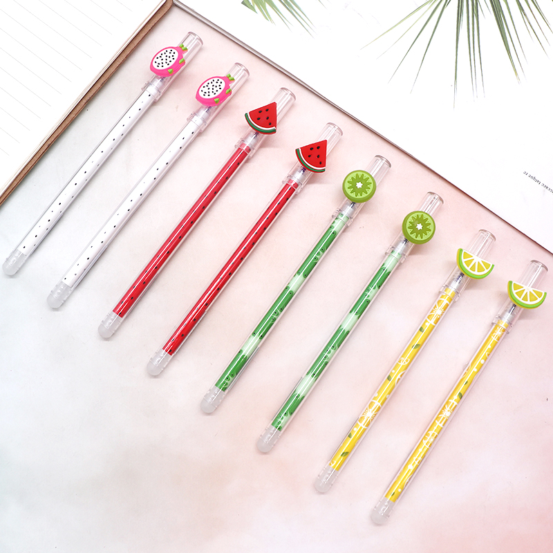 4Pcs/Set Fruit Erasable Pen Refill 0.4mm Blue Ink Magic Gel Pen For School Office Writing Supply Tool Student Kawaii Stationery