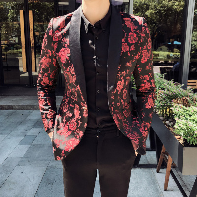 Men Party Jacket Mens Blazer Hombre Stage Singer Hombre Casual Slim Fit Floral Designer Jacket Boys Prom Dresses 5XL Spring 2020