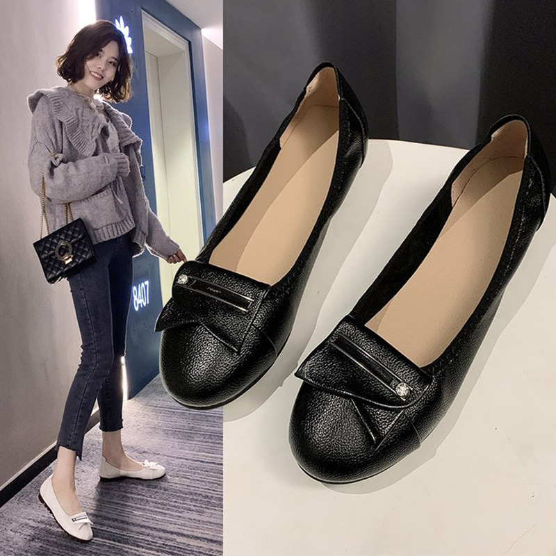 New 2020 Spring Women Slip On Flat Shoes Woman Loafers PU Leather Soft Bottom Casual Shoes Female Fashion Ladies Single Footwear