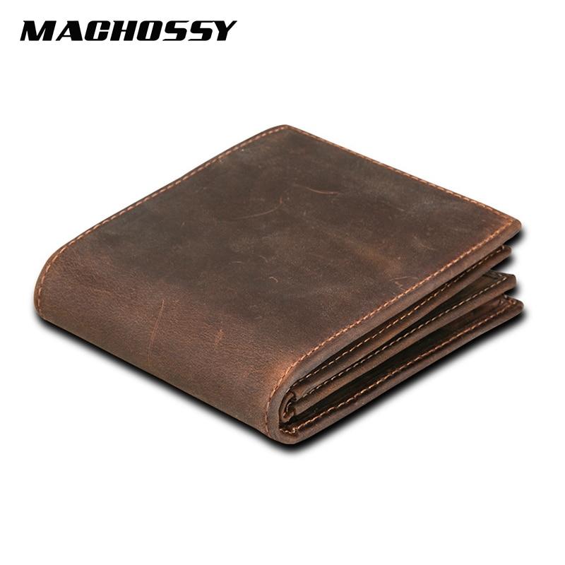 RFID Blocking Men's Wallet Man Vintage Cow Genuine Leather Wallet Male Handmade Billfold Coin Purse Short Wallet Carteira