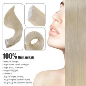 Image 2 - Extensiones de cabello humano con cinta brillante, Color puro, 100g, 40 Uds., adhesivo Rubio liso, máquina de 100%, cabello humano Remy