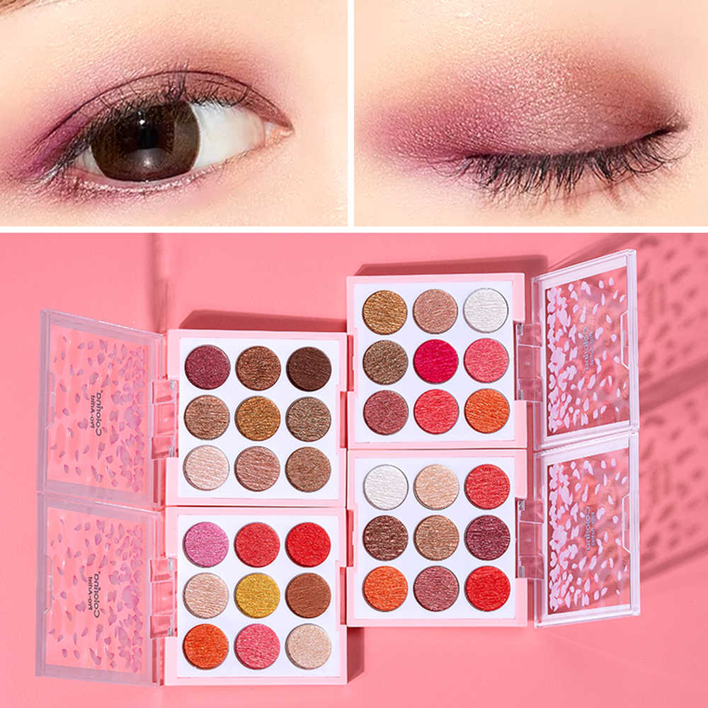 9 colors Mousse Cherry blossoms Eyeshadow Long-lasting Waterproof Eyeshadow Natural Anti-smudge Extensible Eye Make up Tool