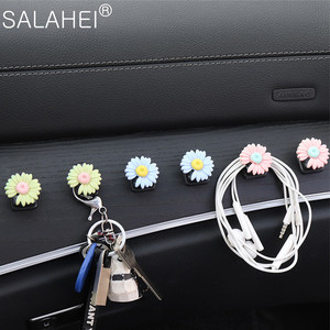 Image 5 - Car Hook Front Row Car Door Multi function Daisy Pattern Organizer Clip Invisible Small Hook Cartoon Cute Auto Goods Accessories