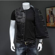 Motorcycle Black Men Denim Vest Vintage Sleeveless Biker Jean Jacket Single Breasted Fashion Work Vests Male With Many Pockets(China)