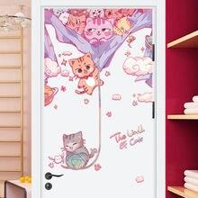 Наклейка на дверь с изображением кота для детской крыльца офиса