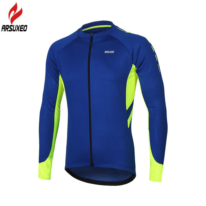 Купить с кэшбэком ARSUXEO Spring Summer Pro Breathable Men's Long Sleeve Cycling Jersey Reflective Bicycle Bike Shirts MTB Mountain Bike Jerseys