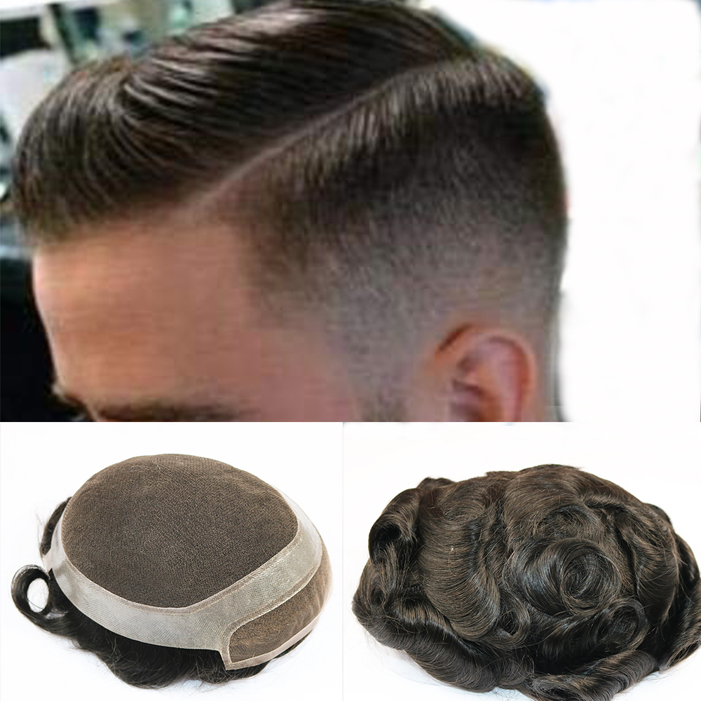 Toupee For Men Swiss Lace With PU Around Hair Pieces Human Hair Replacement System For Men 8