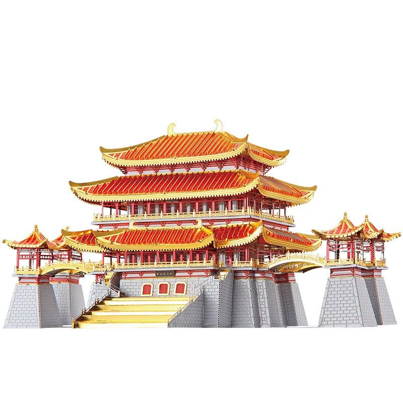 MMZ MODEL Piececool 3D Metal Puzzle P129 Tang Paradise Assembly Metal Model Kit DIY 3D Laser Cut Model Puzzle Toys