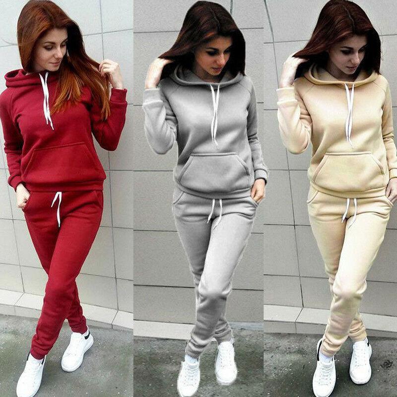 2Pcs Fashion Women Hooded Hoodies Pants Solid Color Female Tracksuit Sweatshirt Sweat Suit Autumn Long Sleeve Sweatshirts Pants