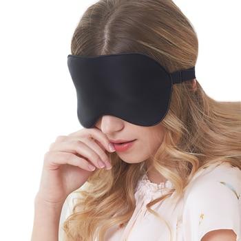 OPHAX Black Sleep Mask for Sleeping Silk Eye Mask Sleep Blindfold Mulberry Silk Eyeshade Eyes Cover Bandage Smooth Rest Aid 1