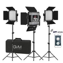 GVM Photography Video Studio Lighting with WiFi Remote APP Control Fold Tripod Stand Bi-Color 480 LED Light Panel Kit 480LS 3 x 150w studio fresnel tungsten light fixture with dimmer control spotlight video light kit lighting with carry case and stand