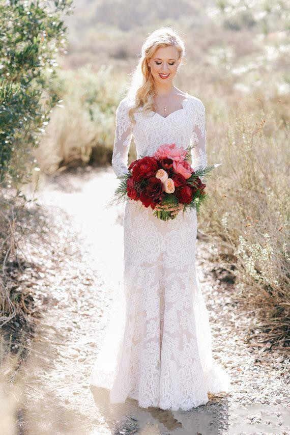 เจียมเนื้อเจียมตัวลูกไม้แขนยาวชุดเดรสเมอร์เมด 2020 ความยาวเต็ม Berta ชุดเจ้าสาว Elegant Garden Wedding Gown ประเทศ