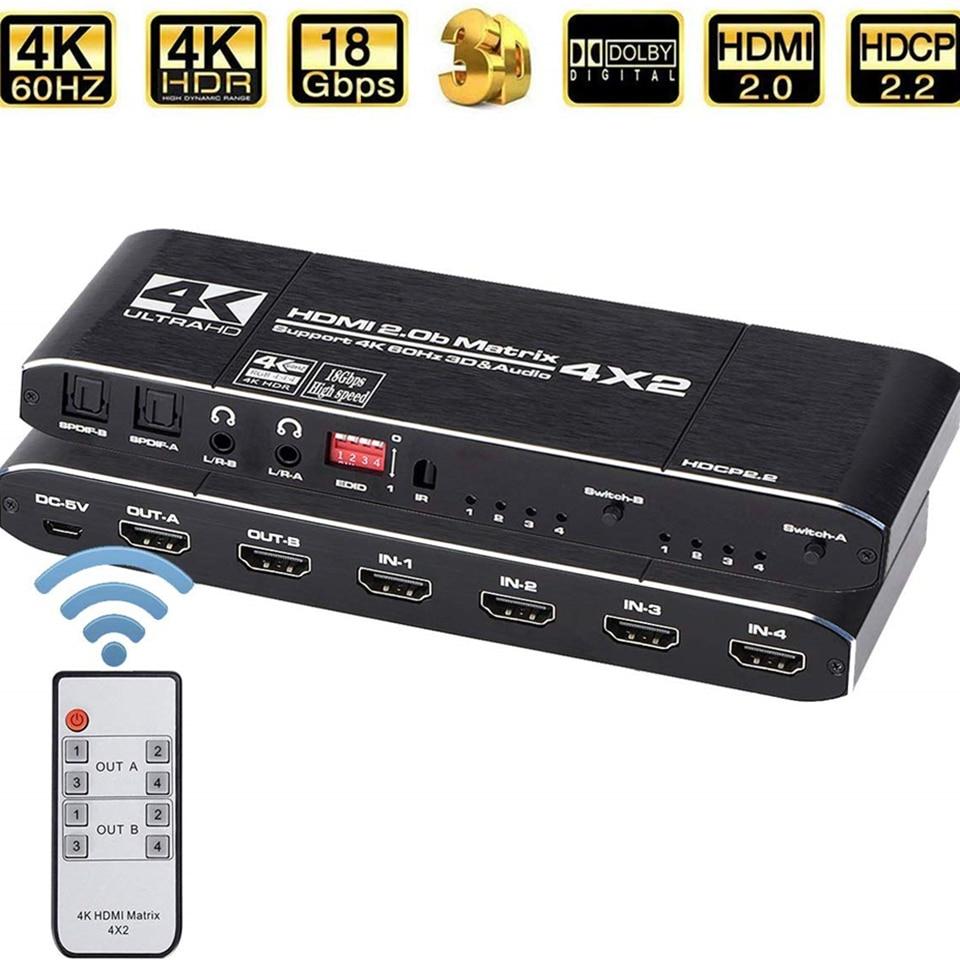 2019 4K HDMI Matrix 4x2 Switch Splitter Support HDCP 2.2 IR Remote Control HDMI Switch 4x2 Spdif 4K 30Hz HDMI 4x2 Matrix Switch
