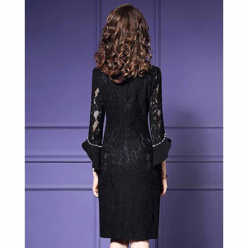 Moda Feminina Elegante Beading Rendas Vestido de Festa Fêmea Do Vintage de Alta Qualidade Designer De Robe Femme Office Party Lápis Vestidos - 5