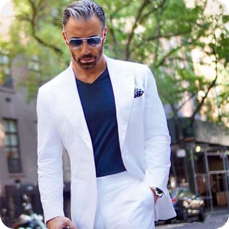 White Men Suits Groom Wedding Tuxedos Formal Groomsmen Suits Big Peaked Lapel Best Man Blazer 2Piece Costume Homme