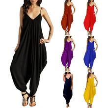 Women Solid Color Casual Sexy V-Neck Loose Long Pants JumpsuitSleeveless Rompe