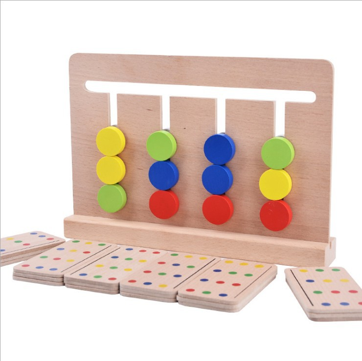 QZM Four Colors Game Early Educational Teaching Aid Montessori ENLIGHTEN Educational Children Logic Wooden Toys|  - title=