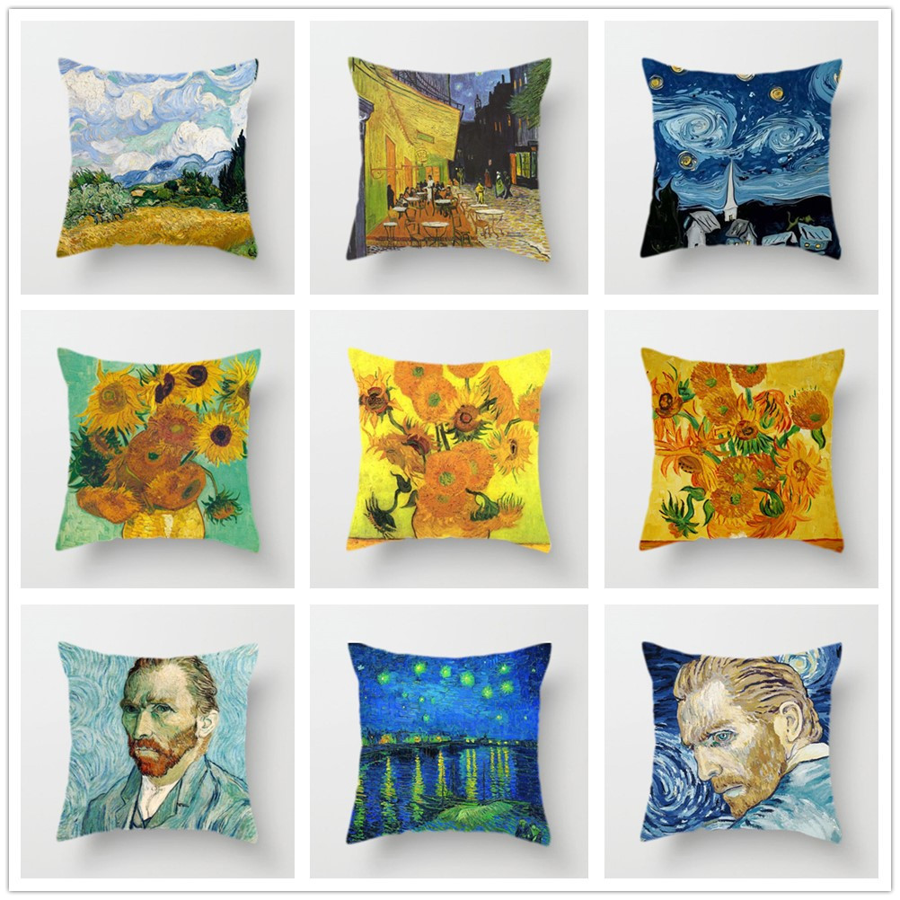 Van Gogh Oil Painting Cushion Cover Sofa Home Decorative Pillow Covers Sunflower Self-portrait Starry Sky Print Pillowcase