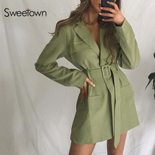 Sweetown 2020 Autumn Classic Long Trench Coat With Belt England Style Ladies Streetwear Turn Down Collar Female Windbreaker