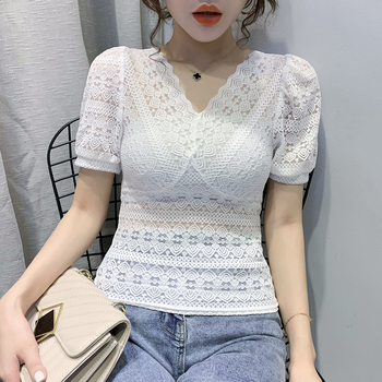 2020 Lace Puff Sleeve New Style Sexy V-neck Fashion Transparent Pullover BLouses Women Shirts Shorts V Neck 77B
