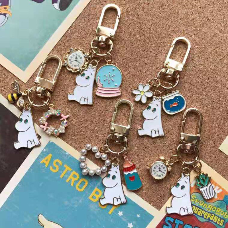 Moomin Mummi Keychain 2019 New Arrival Fashion Unisex Hippo Character Plush Keychain  Romantic Cartoon Metal Key Ring