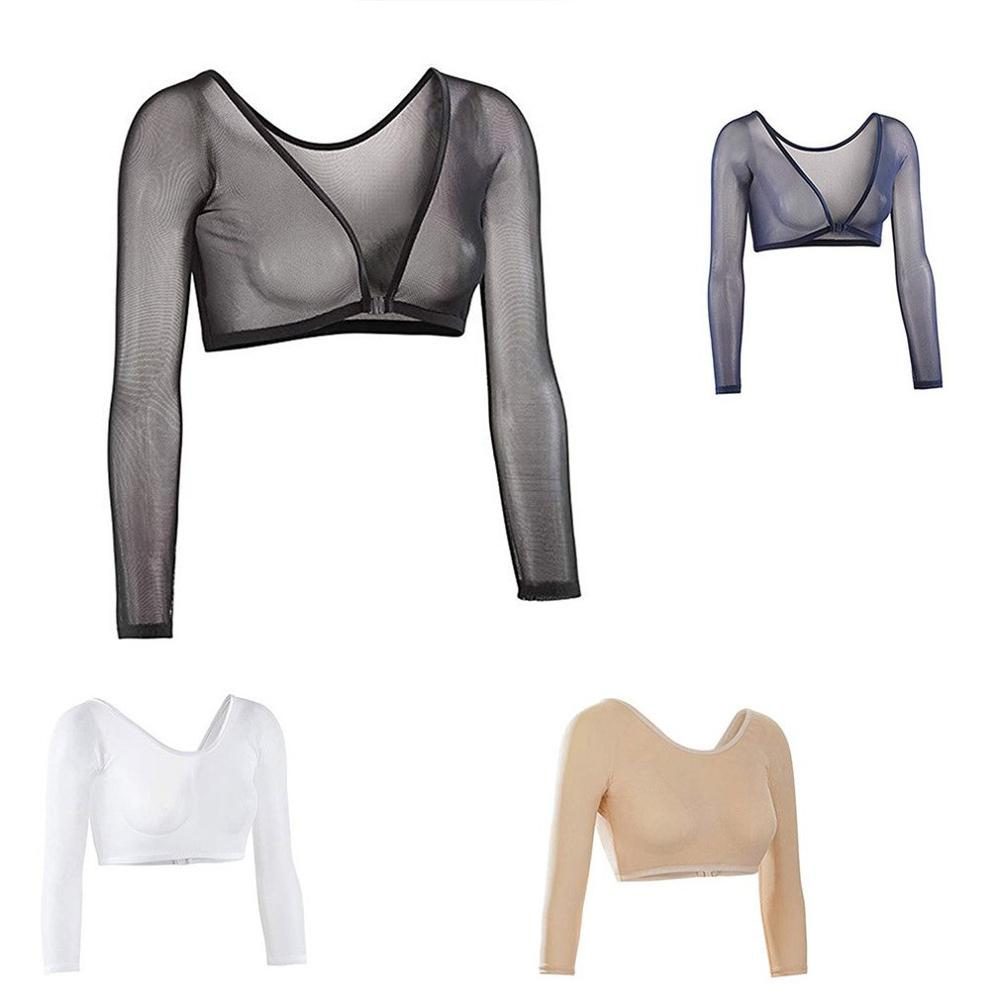 Invisible Seamless Arm Shaper T-Shirt Compression Mesh Chest Slim Upper Top Black White Fresh Blue Color